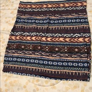 Multi- colored Aztec patterned mini skirt